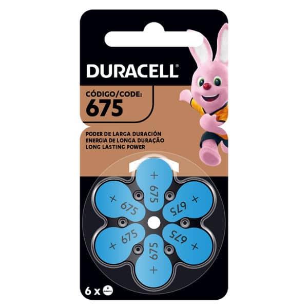 pilas duracell para audifonos 675 color azul en blister de 6 unidades