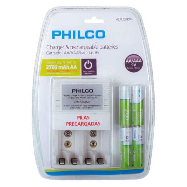 cargador de baterias AA marca philco