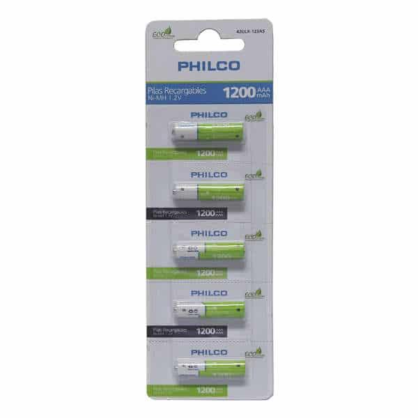blister de 5 unidades de pila philco recargable