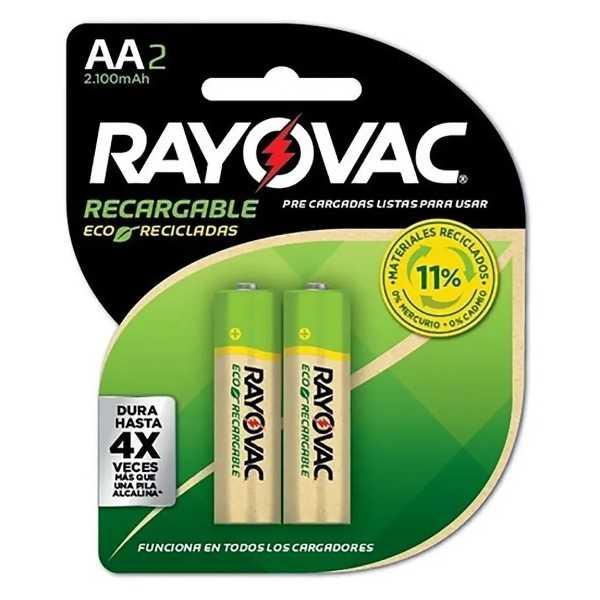 pilas reacargables rayovac doble AA recargables de 2 unidades